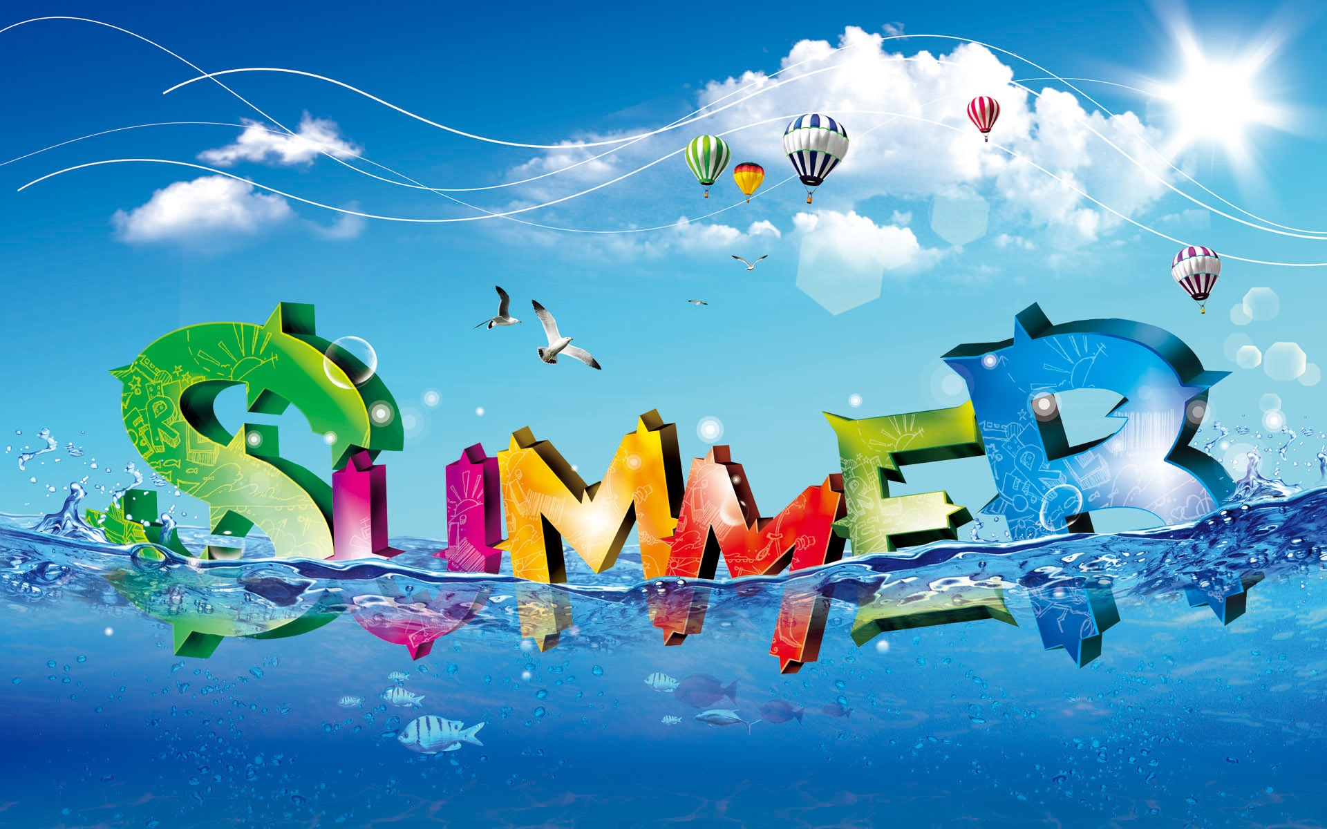 Colorful-fresh-summer-water-letter_1920x1200
